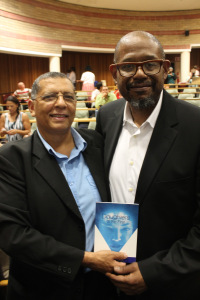 Cape Town poet Brian Williams (left) with American actor Forest Whitaker. Picture by Yazeed Kamaldien